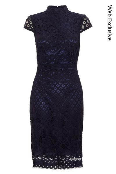 Navy Lace Turtle Neck Midi Dress
